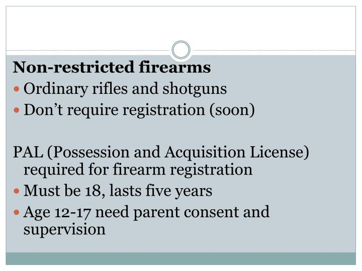 Non-restricted firearms