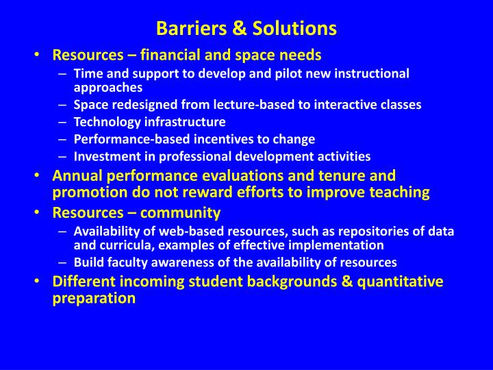 Barriers & Solutions