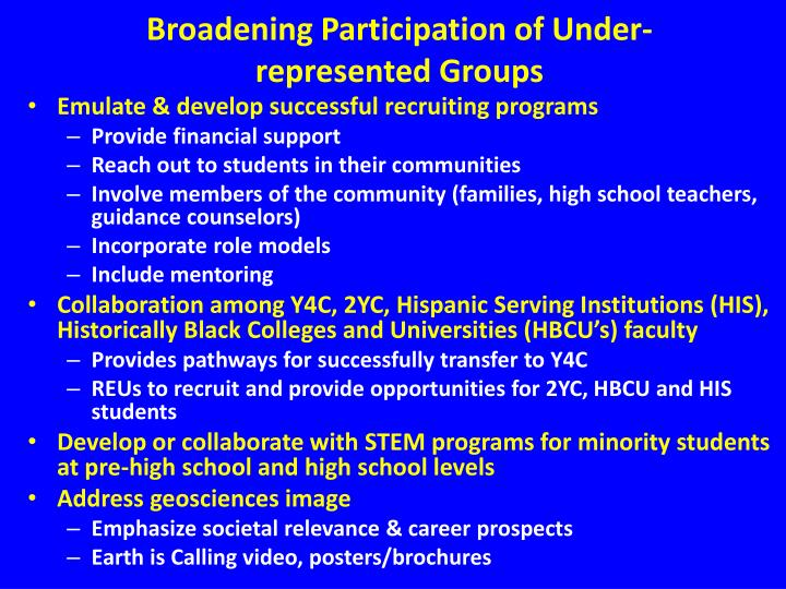 Broadening Participation of Under-represented Groups