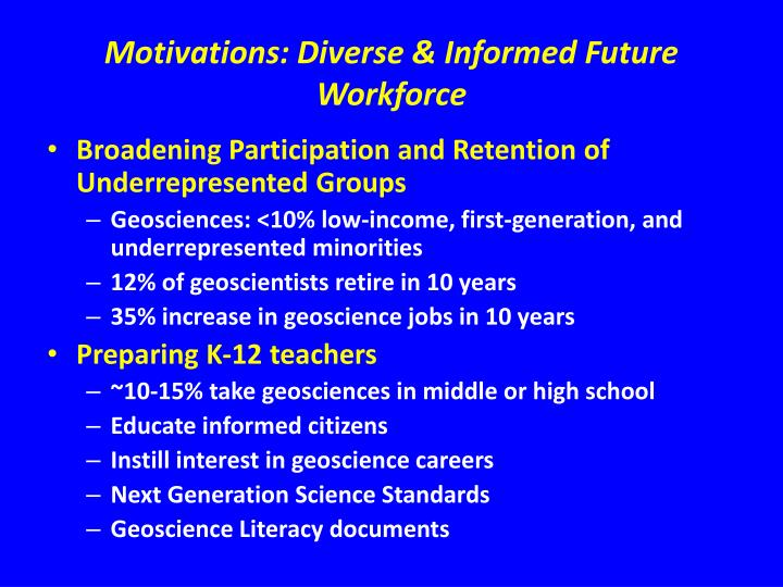 Motivations: Diverse & Informed Future Workforce