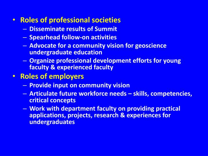 Roles of professional