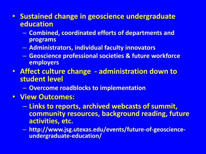 Sustained change in geoscience undergraduate education