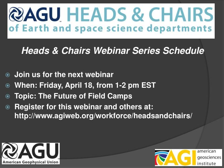 Heads & Chairs Webinar Series Schedule