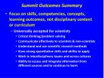 summit outcomes summary