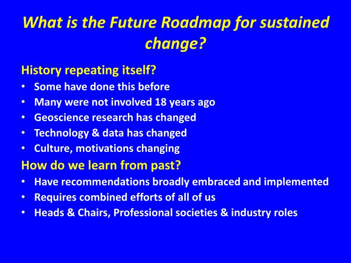 What is the Future Roadmap for sustained change?