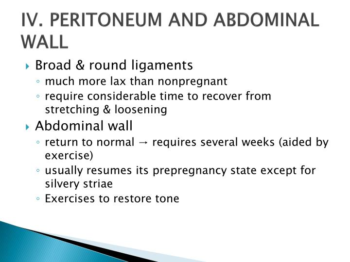 IV. PERITONEUM AND ABDOMINAL WALL