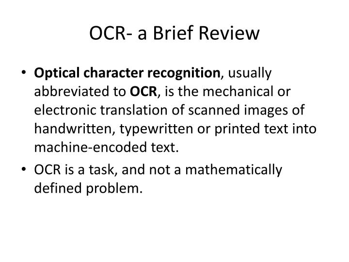 OCR- a Brief Review