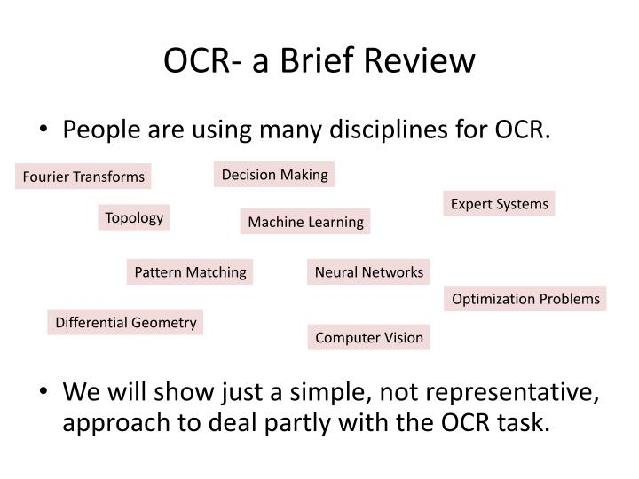 Ocr a brief review1