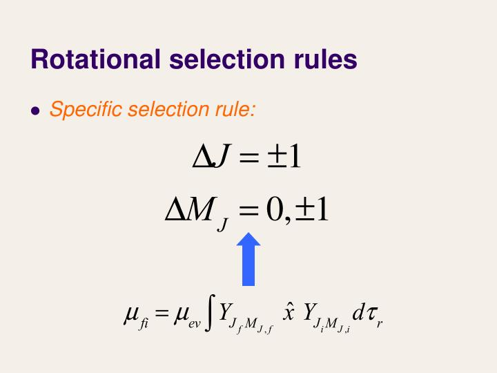 Rotational selection rules