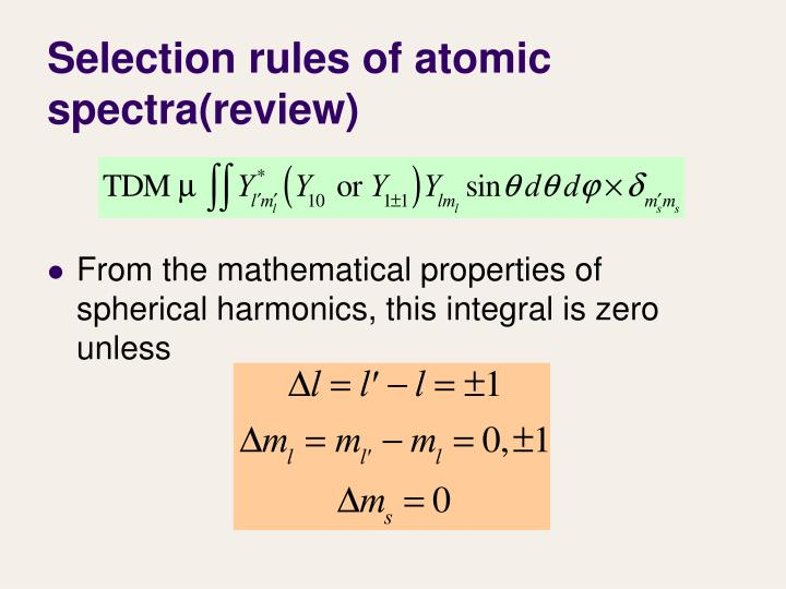 Selection rules of atomic spectra(review)