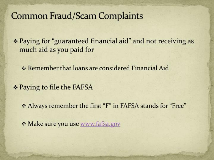 Common Fraud/Scam Complaints