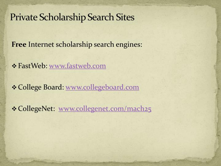Private Scholarship Search Sites