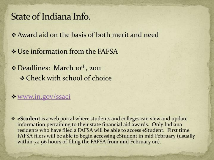 State of Indiana Info.