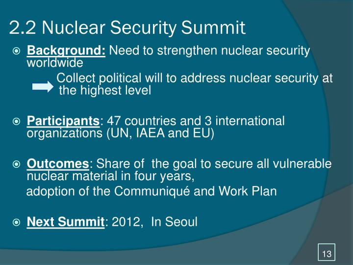 2.2 Nuclear Security Summit