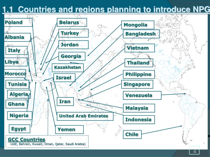 1.1  Countries and regions planning to introduce NPG