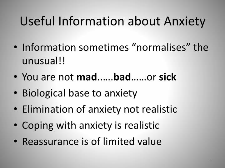 Useful Information about Anxiety
