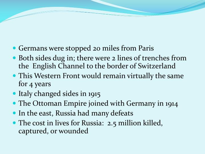 Germans were stopped 20 miles from Paris