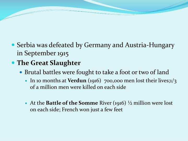 Serbia was defeated by Germany and Austria-Hungary in September 1915