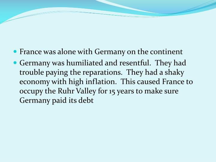 France was alone with Germany on the continent