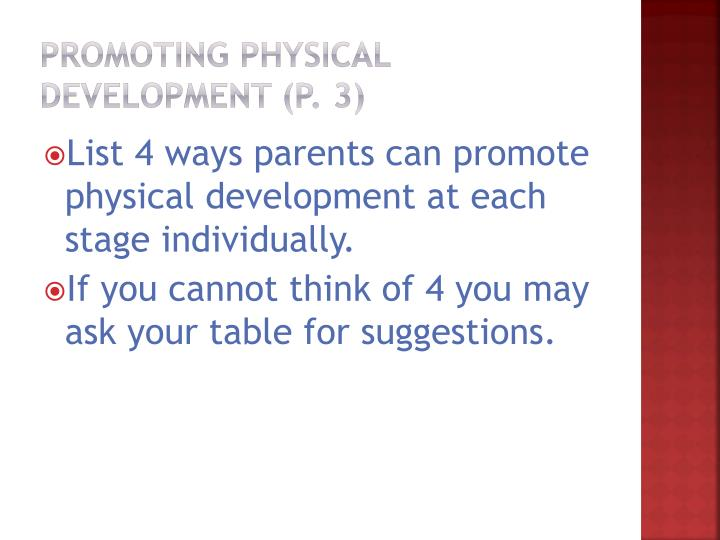 Promoting physical development (p. 3)