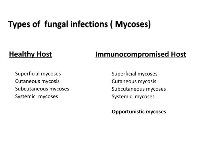 Types of  fungal infections ( Mycoses)