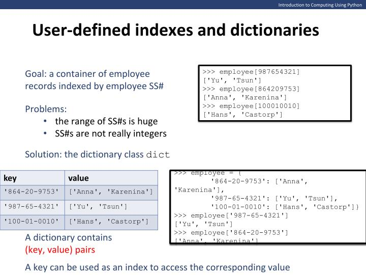 User-defined indexes and dictionaries