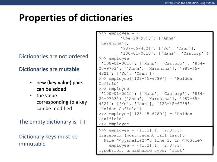 Properties of dictionaries
