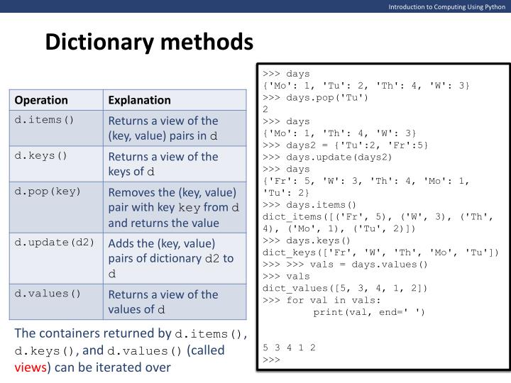 Dictionary methods