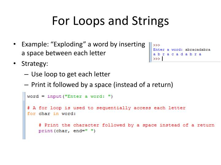 For Loops and Strings