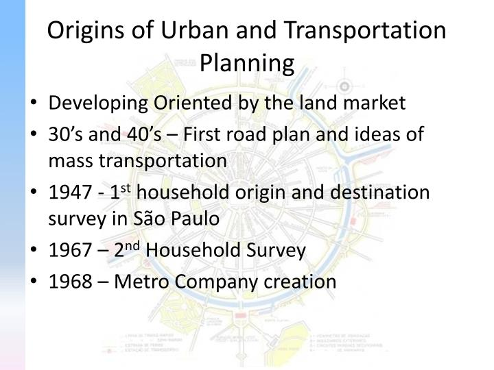 Origins of Urban and Transportation Planning