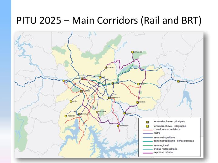 PITU 2025 – Main Corridors (Rail and BRT)
