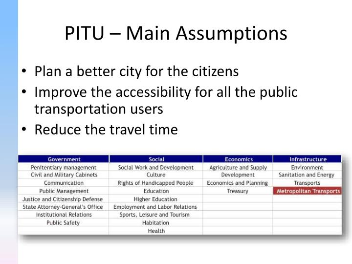 PITU – Main Assumptions