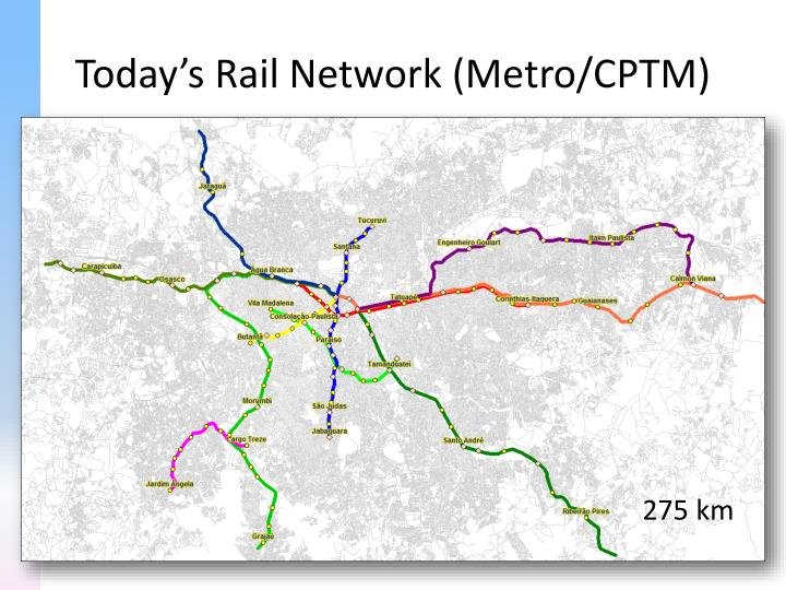 Today's Rail Network (Metro/CPTM)
