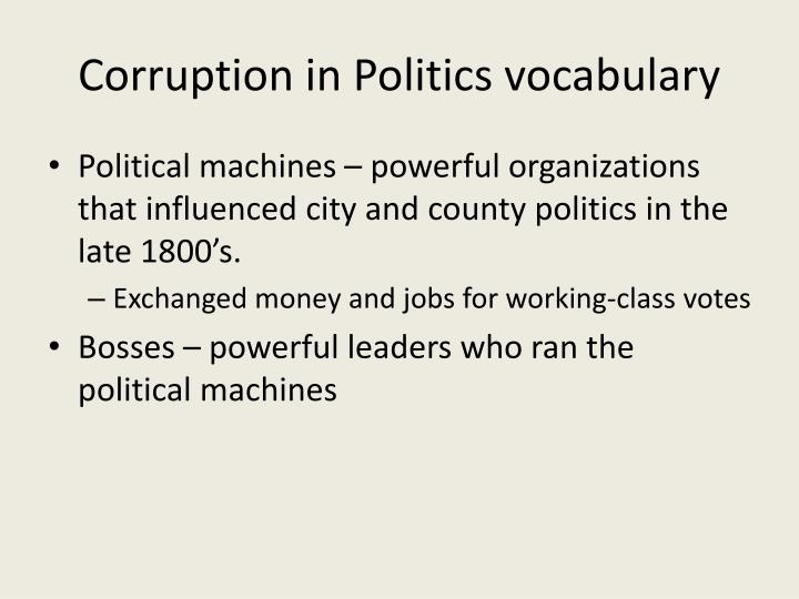 Corruption in Politics vocabulary
