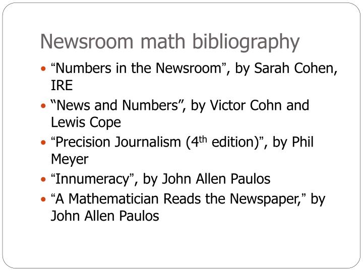 Newsroom math bibliography