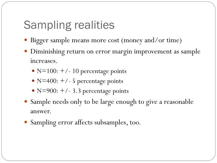Sampling realities