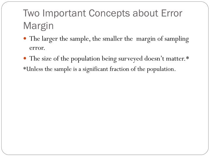 Two Important Concepts about Error Margin