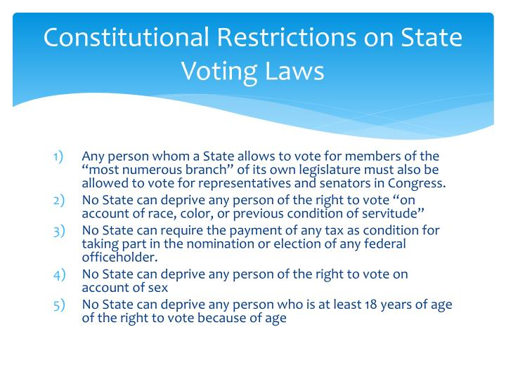 Constitutional Restrictions on State Voting Laws