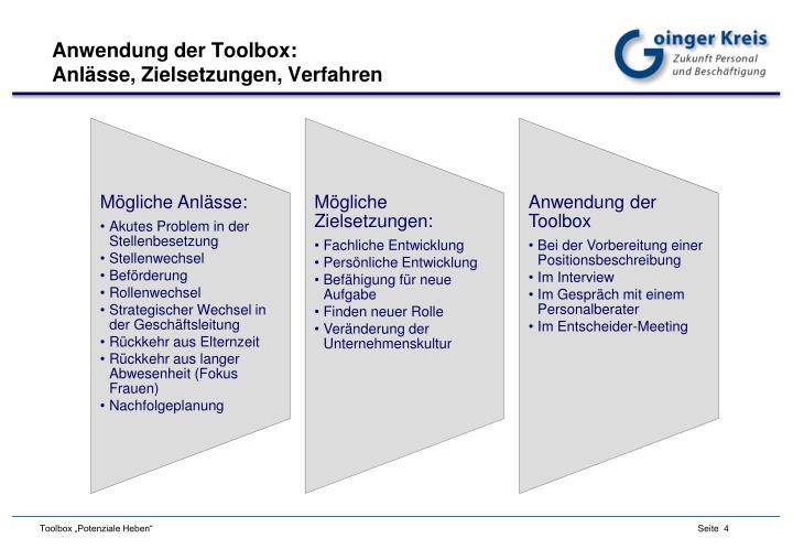 Anwendung der Toolbox: