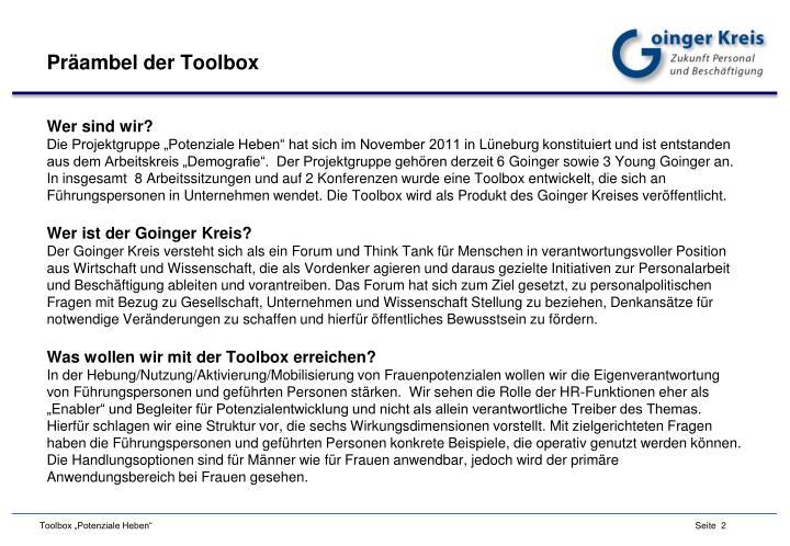 Präambel der Toolbox