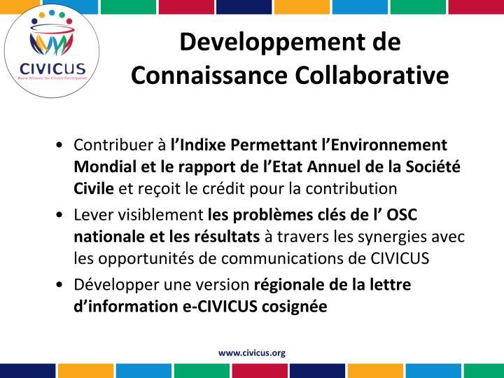 Developpement de Connaissance Collaborative