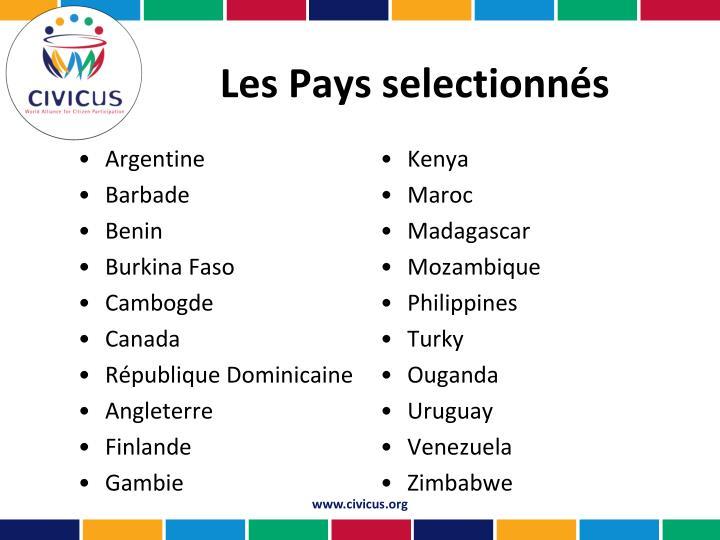 Les Pays selectionnés