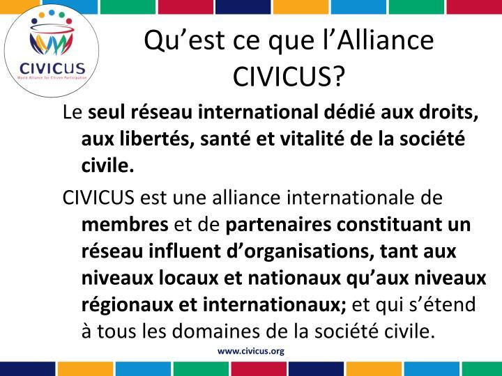 Qu'est ce que l'Alliance CIVICUS