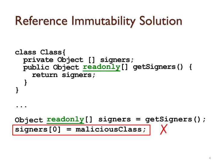 Reference Immutability Solution
