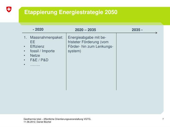 Etappierung Energiestrategie 2050
