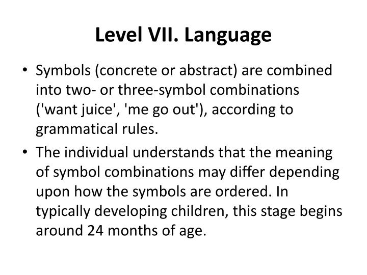 Level VII. Language