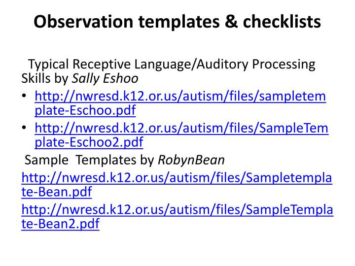 Observation templates & checklists
