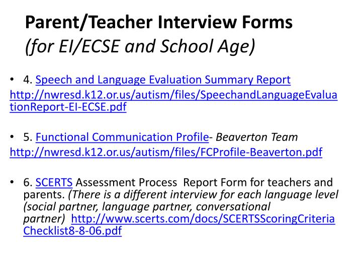 Parent/Teacher Interview Forms