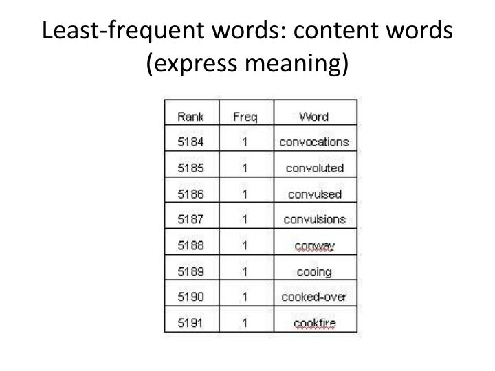 Least-frequent words: content words (express meaning)