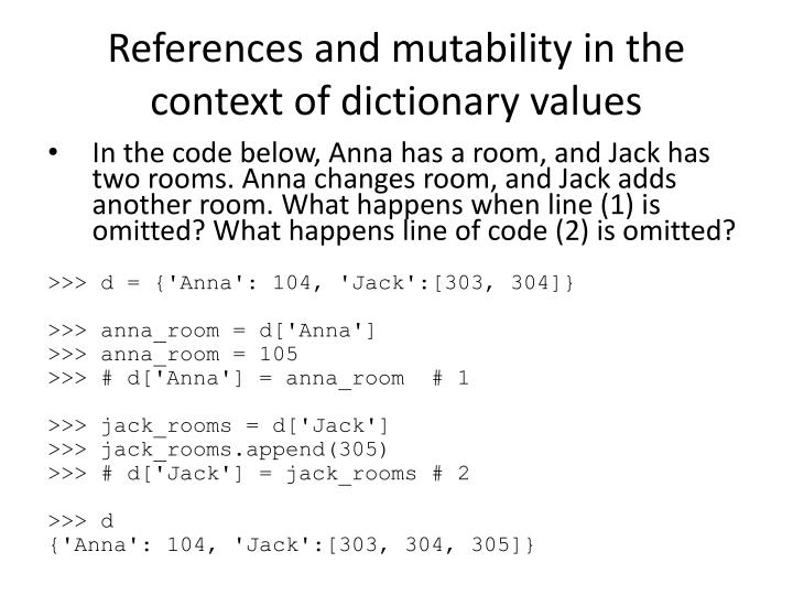 References and mutability in the context of dictionary values